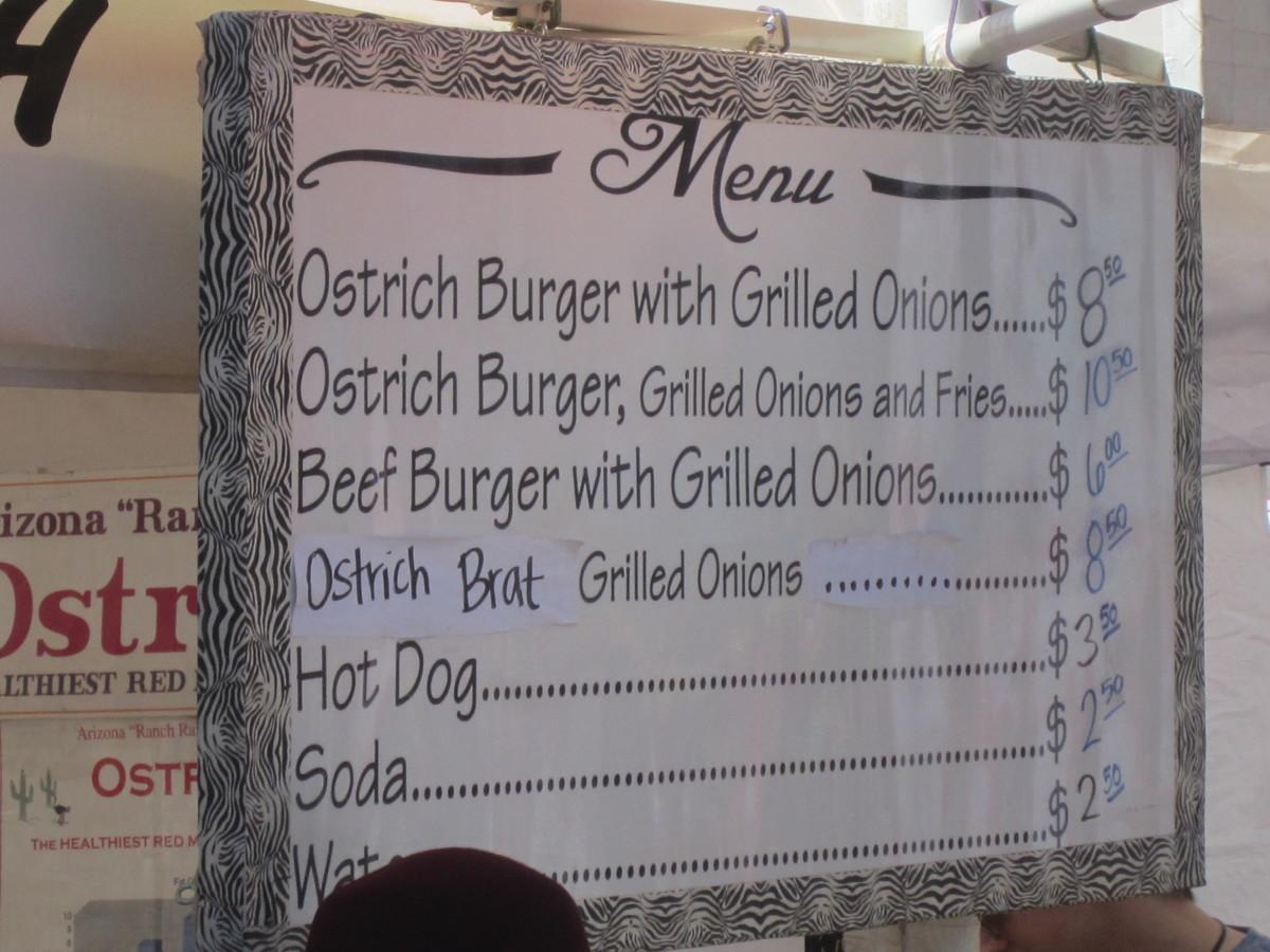 Ostrich Meat Menu