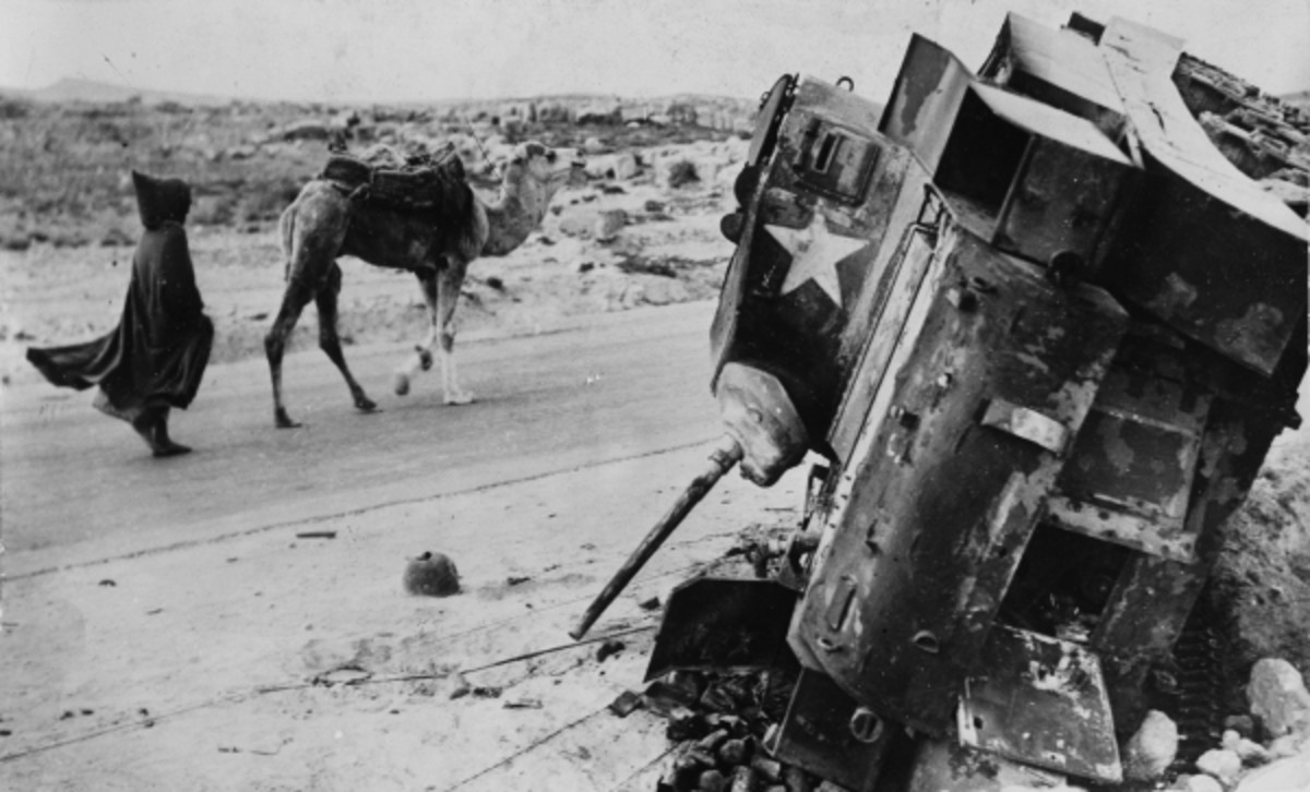 A knocked out American light tank, many troops were left on the field of battle for days.