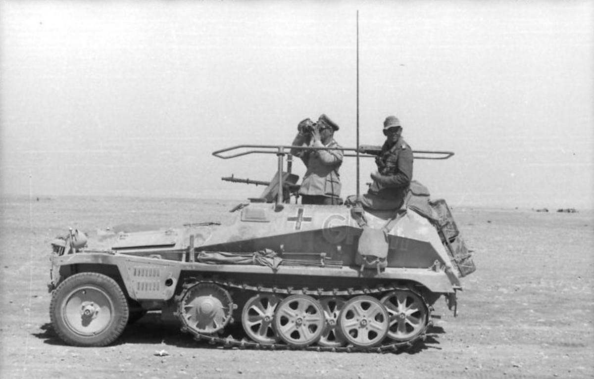 Rommel in his command car during battle in North Africa.