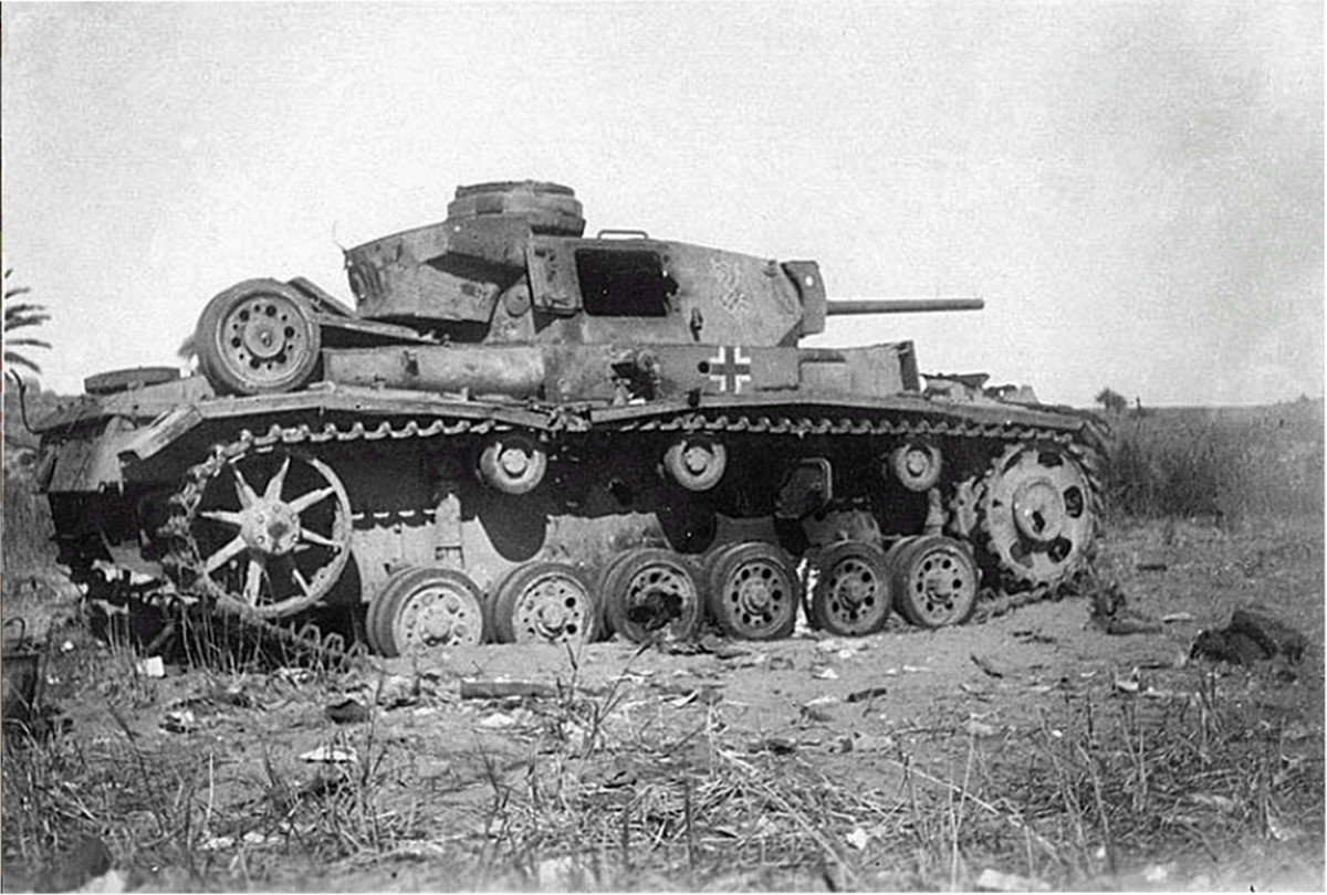 Knocked out Panzer III in Tunisia
