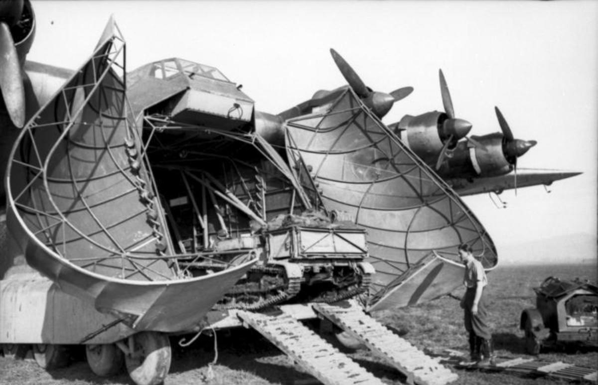 The Messerschmitt Me 323 assault glider loading equipment bound for Tunisia in January 1943.