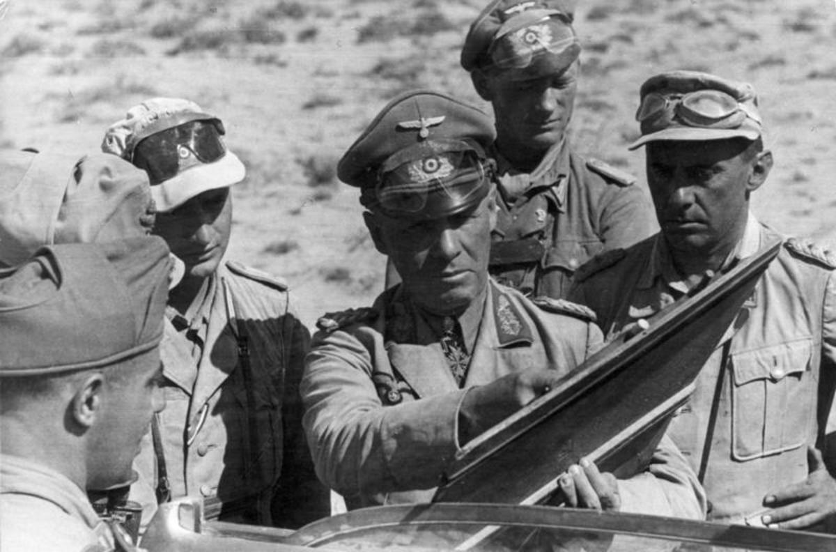 Rommel again in battle leading his troops.