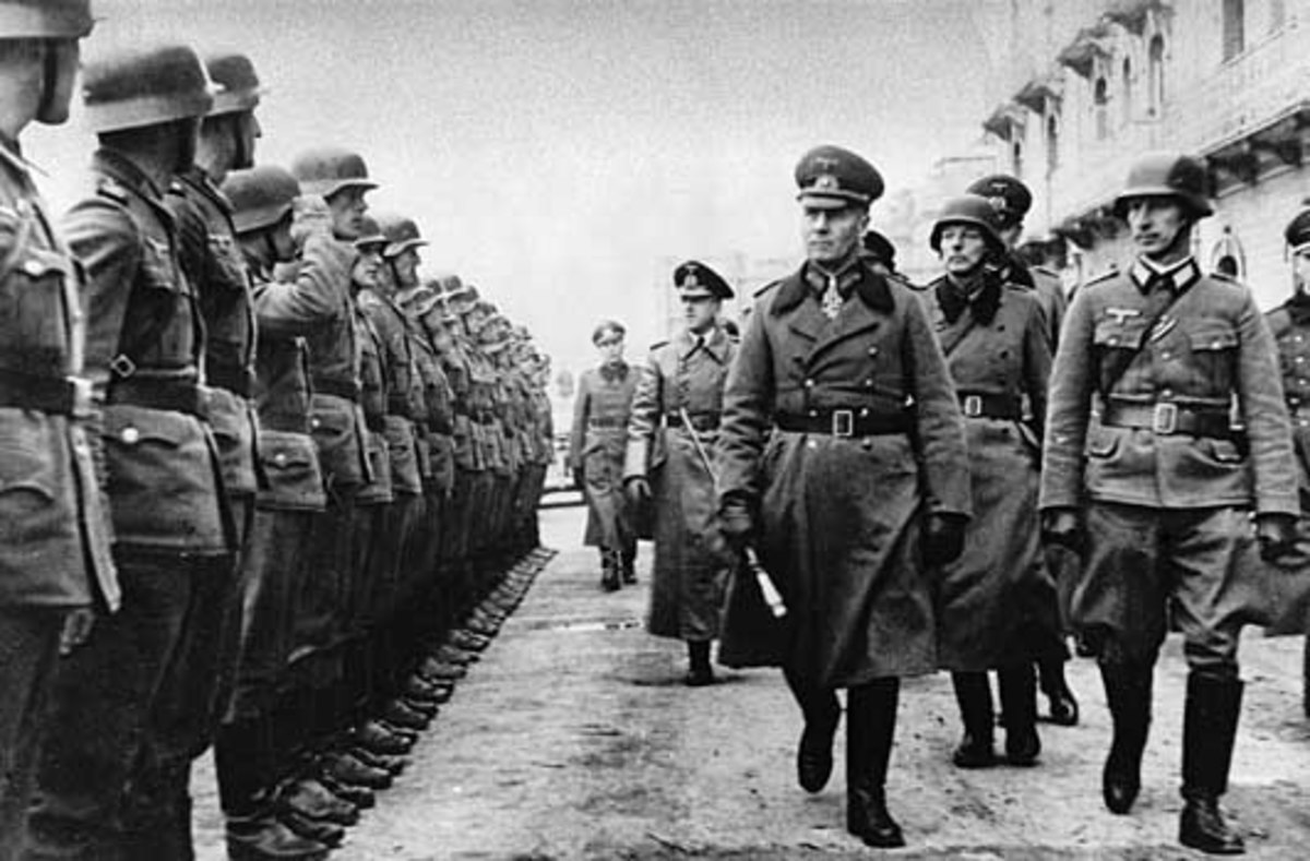 Rommel reviewing his troops in North Africa