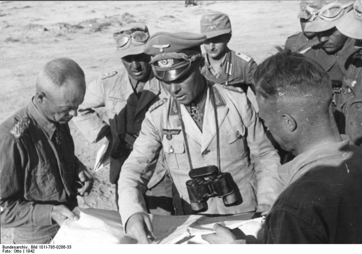 Rommel with his generals on the battlefield.