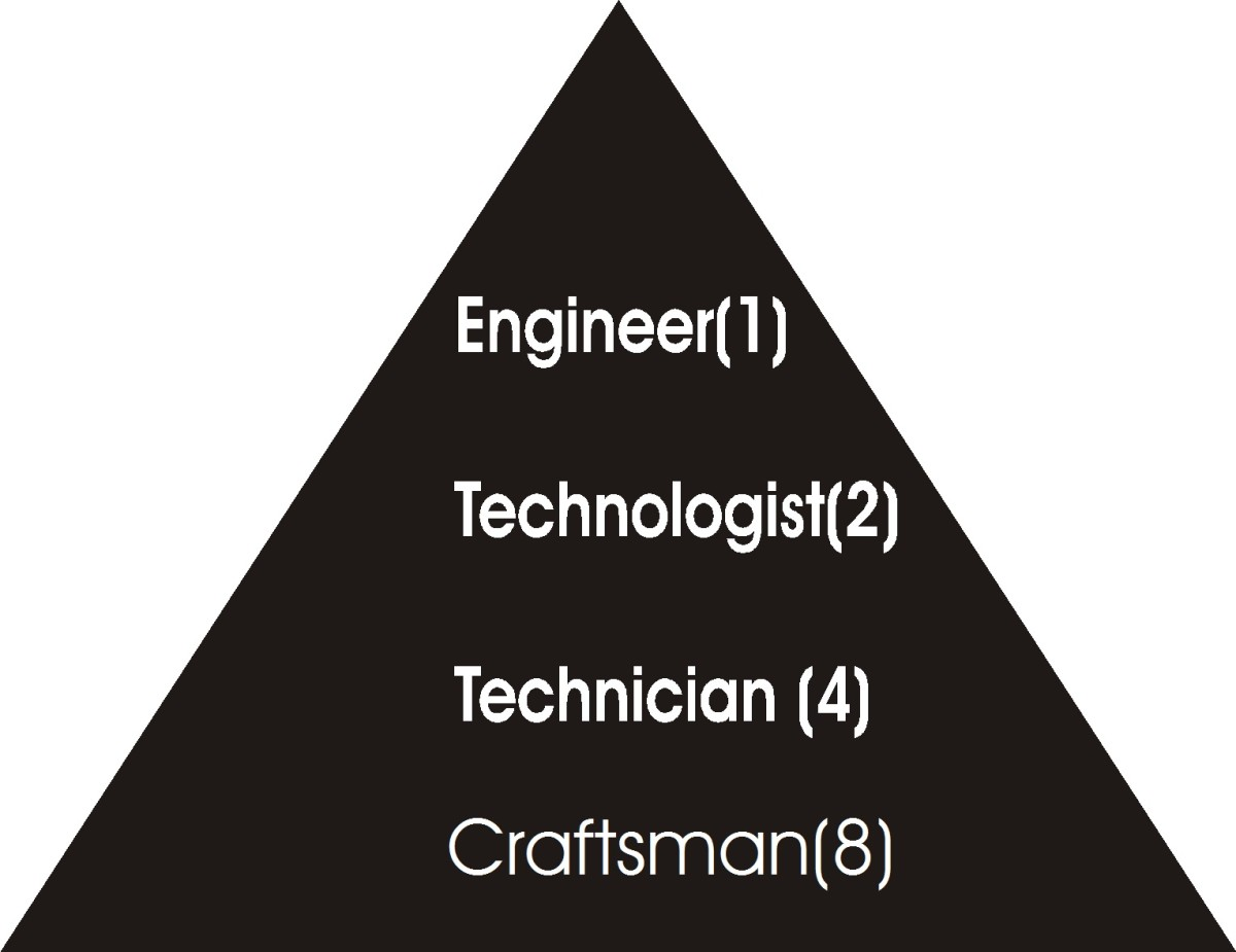 Pyramidal Hierarchy of Engineering Family. The hierarchy was designed by the author.The number shows that where there is 1 engineer, you 2 technologists, 4 technicians and 8 craftsmen.