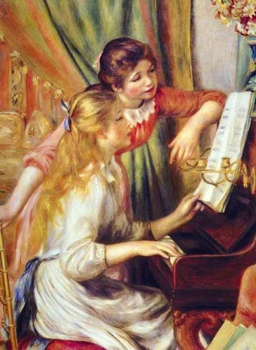 Young Girls At A Piano is more representative on Renoir's later work, where he focused more on people.