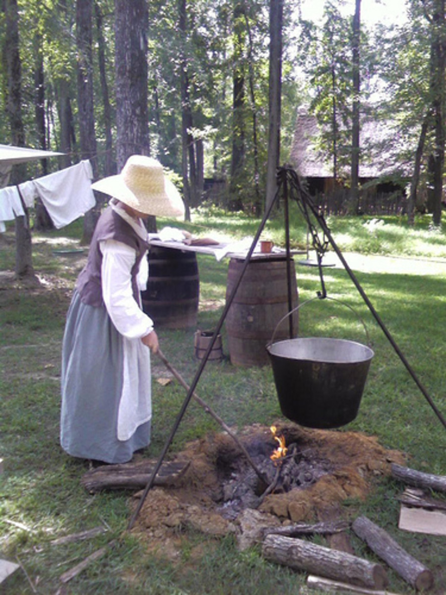 Foods were often cooked together in one big pot over a fire.
