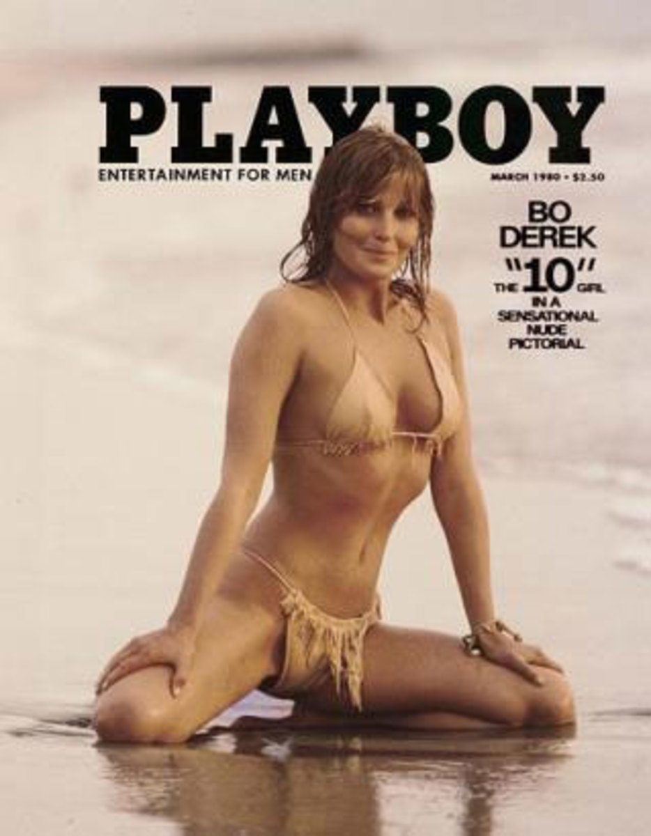 y of a 1980 Playboy magazine cover, featuring actress Bo Derek (news), brought $11,950 when sold at auction at Christies auction house in New York, Wednesday, Dec. 17, 2003. The cover was part of a lot of Playboy memorabilia that netted $2.75 million