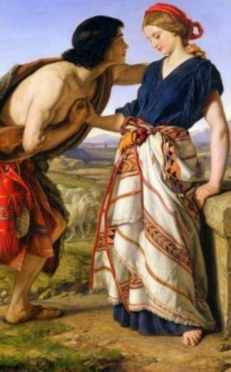 Jacob meets Rachel at the well. Original work of art by William Dyce (1806-1864), Wikipedia