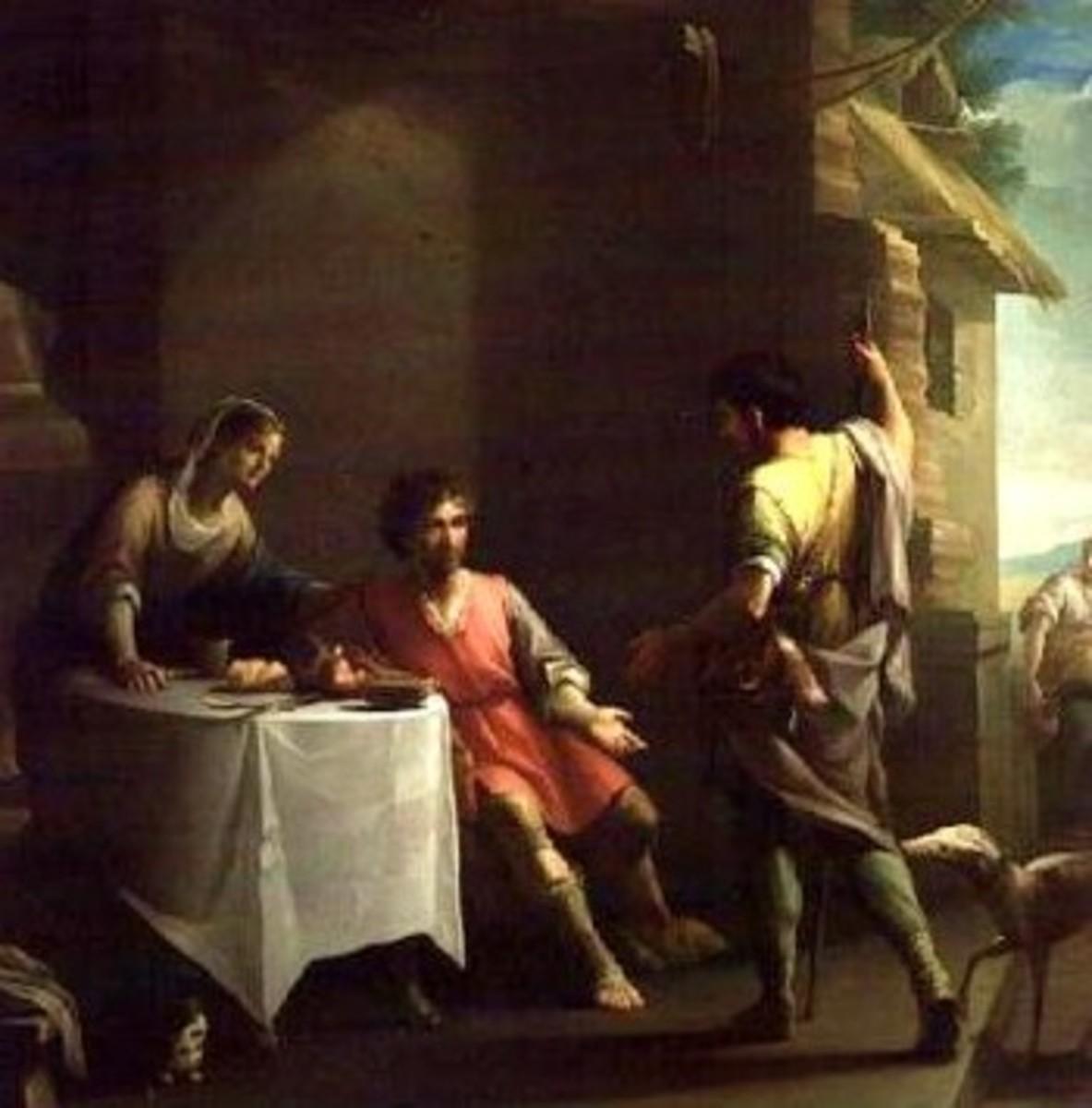Esau sells his birthright to Jacob. Original work of art by Zacarias Gonzalez Velazquez (1800), Wikipedia