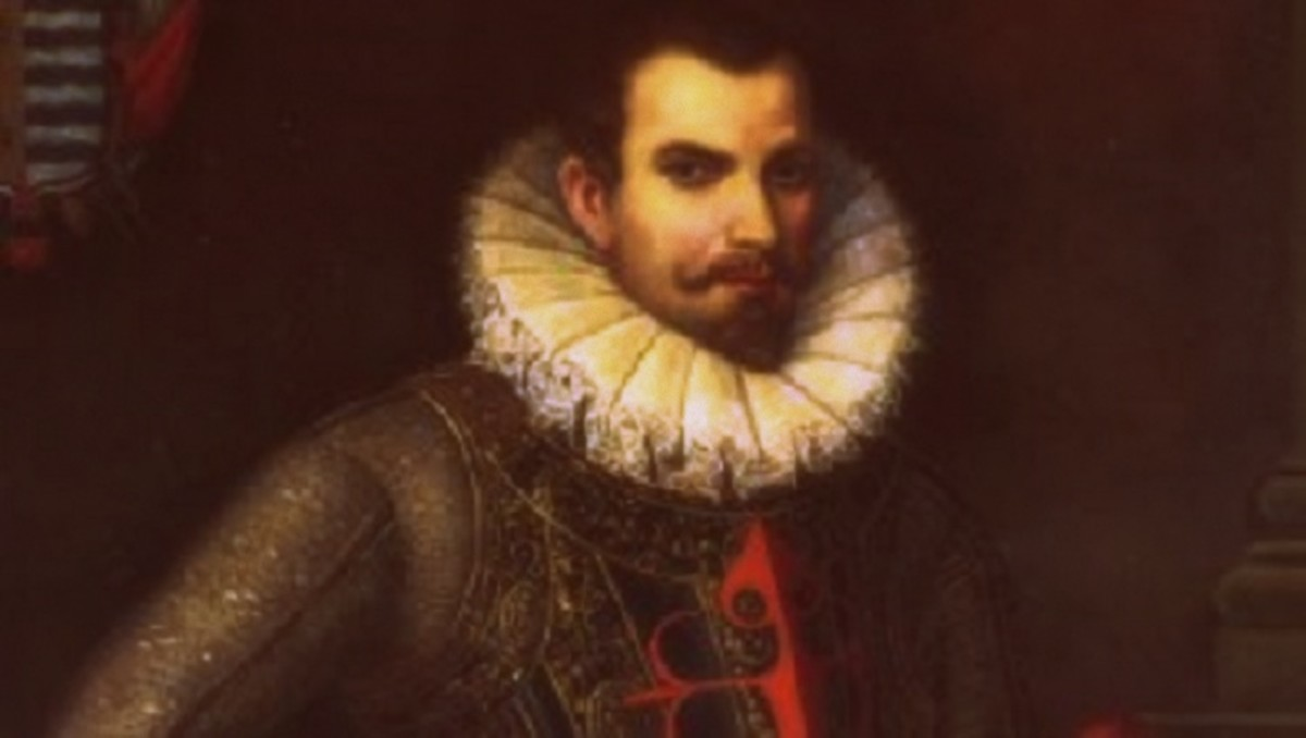 A portrait of Hernan Cortes.