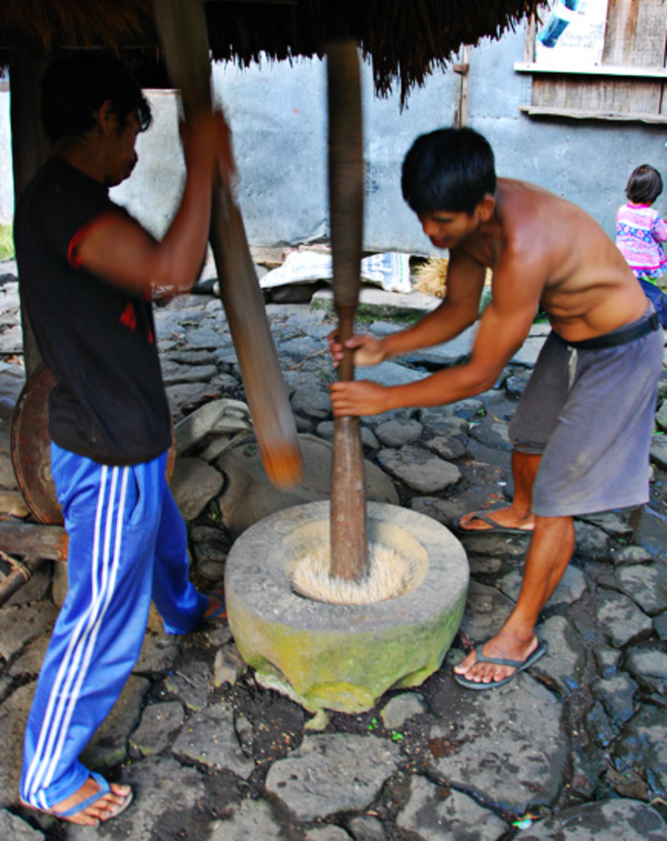 Pounding with Use of Wooden Pestle and Stone Mortar to Separate Rice Grain from Hull (Image Credit: AkosiSuperEdwinK from pinoyphotography.org)