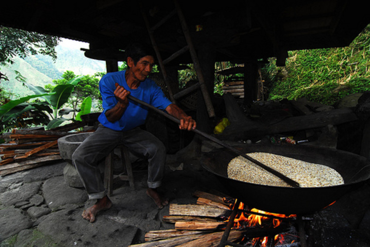A Native Ifugao Roasting Rice to Make Tapuy Rice Wine (Photo courtesy by Greenpeace Southeast Asia from Flickr.com)