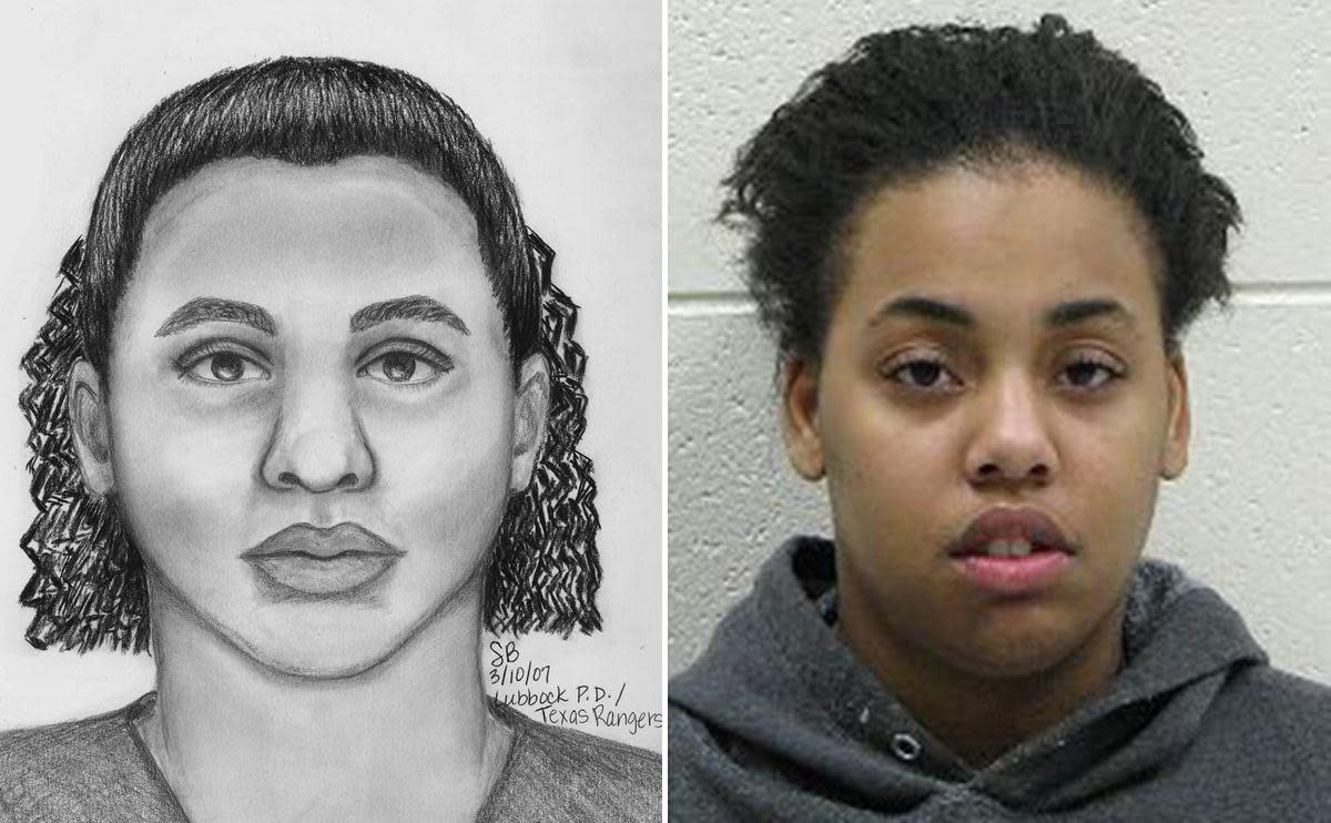 Rayshaun Parson and her accompanying composite sketch.