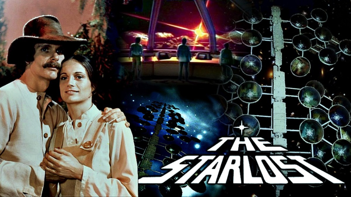 "Keir Dullea as Devon and Gay Rowan as Rachel from the the Cypress Corner biosphere on ""The Starlost"" with great artwork of the Ark and the Bridge."