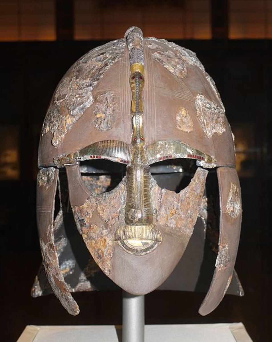 The Sutton Hoo helmet, on display in the British Museum