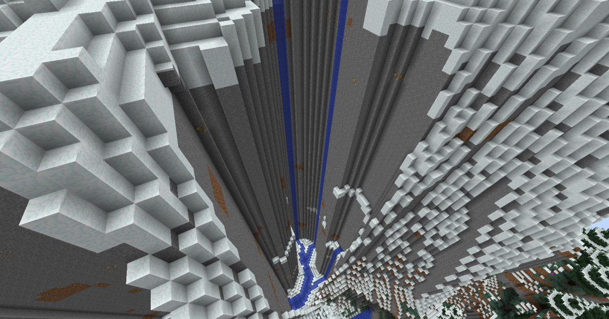 Rivers generated around very tall mountains such as Biomes O' Plenty's Alps almost always drop to near sea level quickly and have extremely smooth canyon walls, making such drops much more sharp than they really should be.