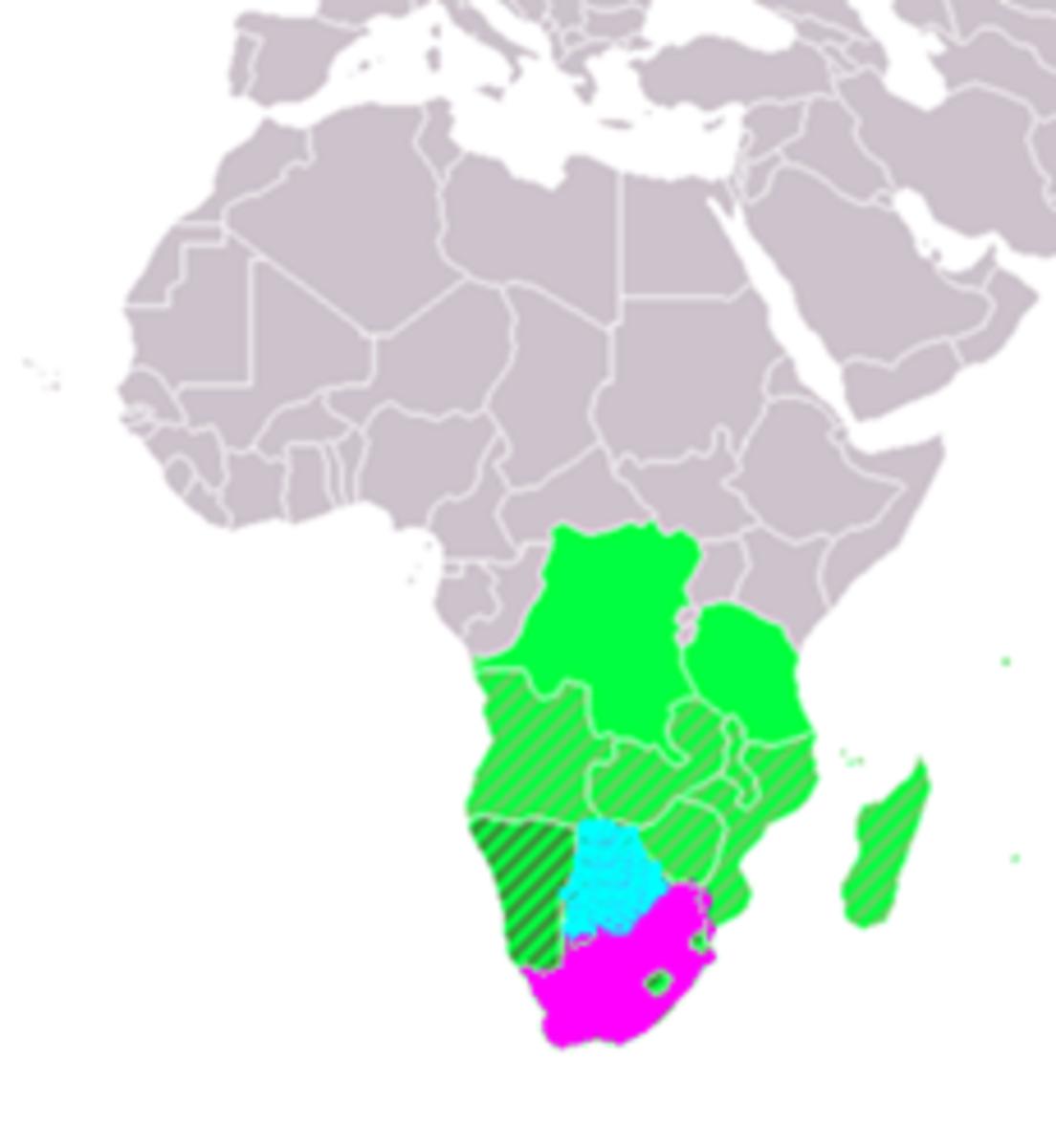 Pink - South Africa / Blue - Botswana