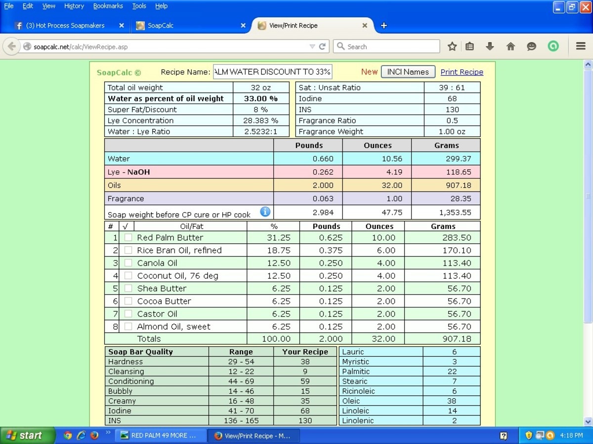 Screenshot of this recipe, showing more detailed information about the soap's properties, from SoapCalc, a popular online lye calculator