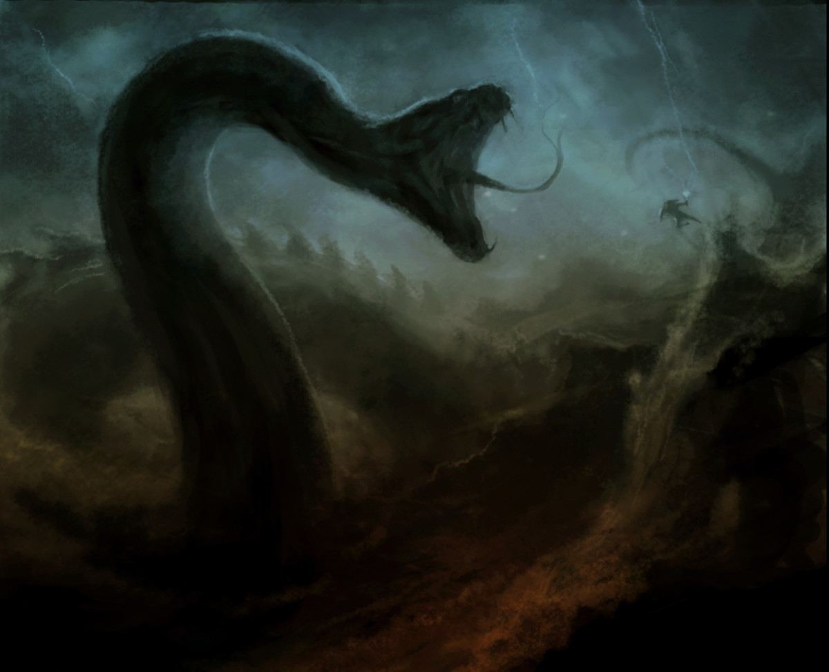 Jormungandr fights Thor (that itty-bitty guy near the upper right).