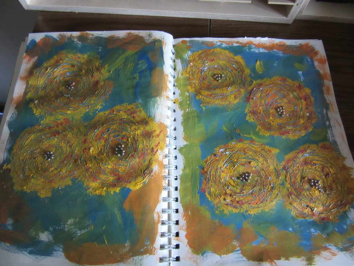 This journal is about my gardening and love of flowers. So I used acrylic paint and added some abstract flowers as a background