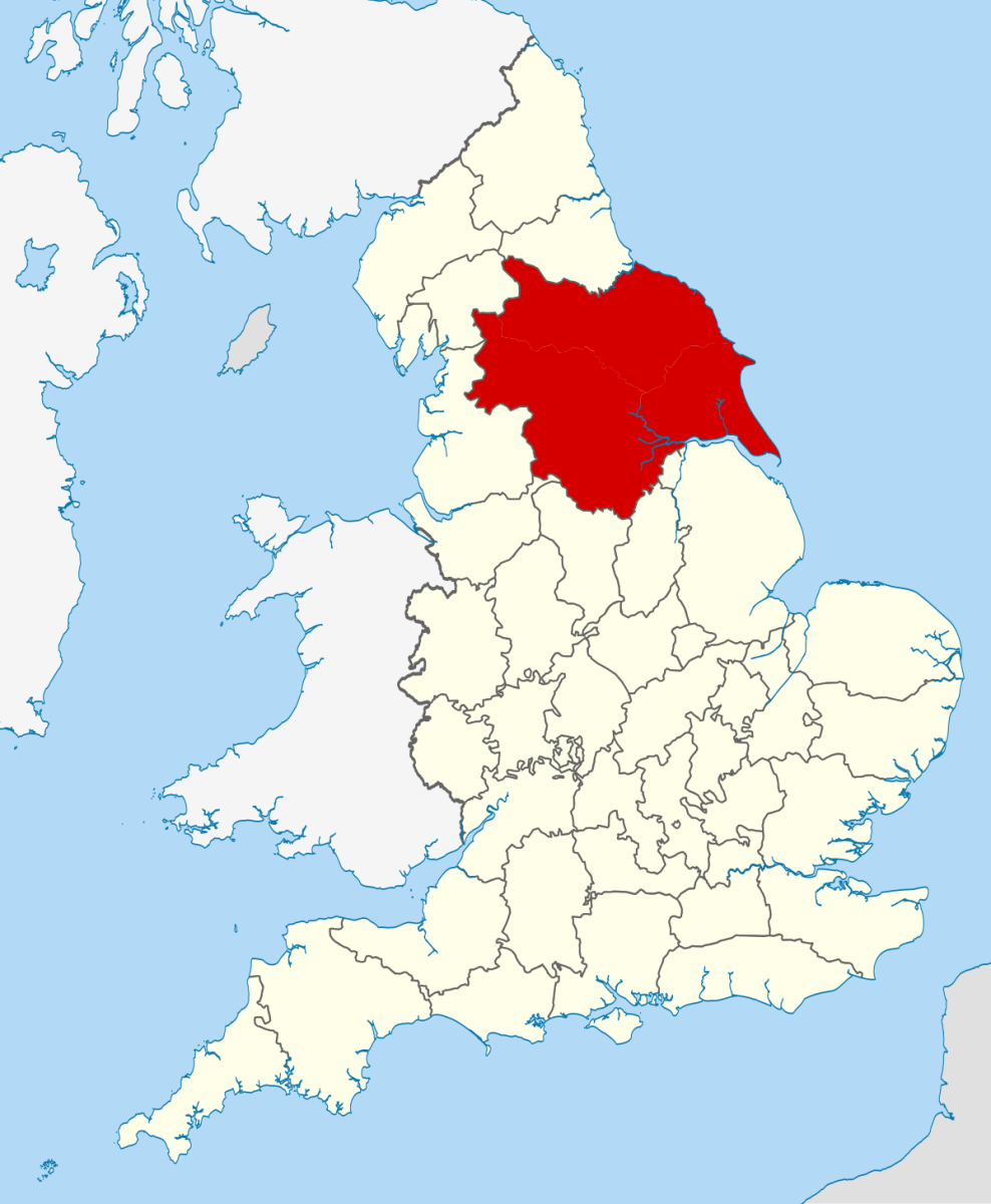 location of Yorkshire, England