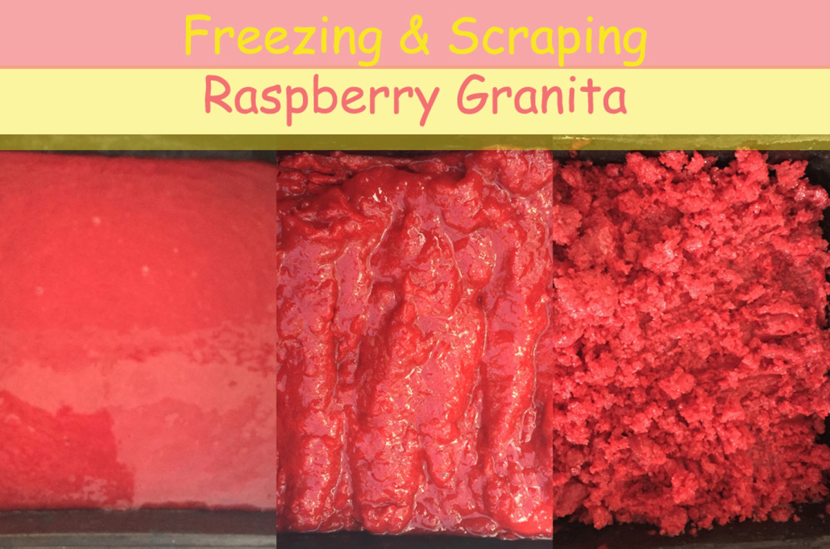 Freezing & Scraping Raspberry Granita