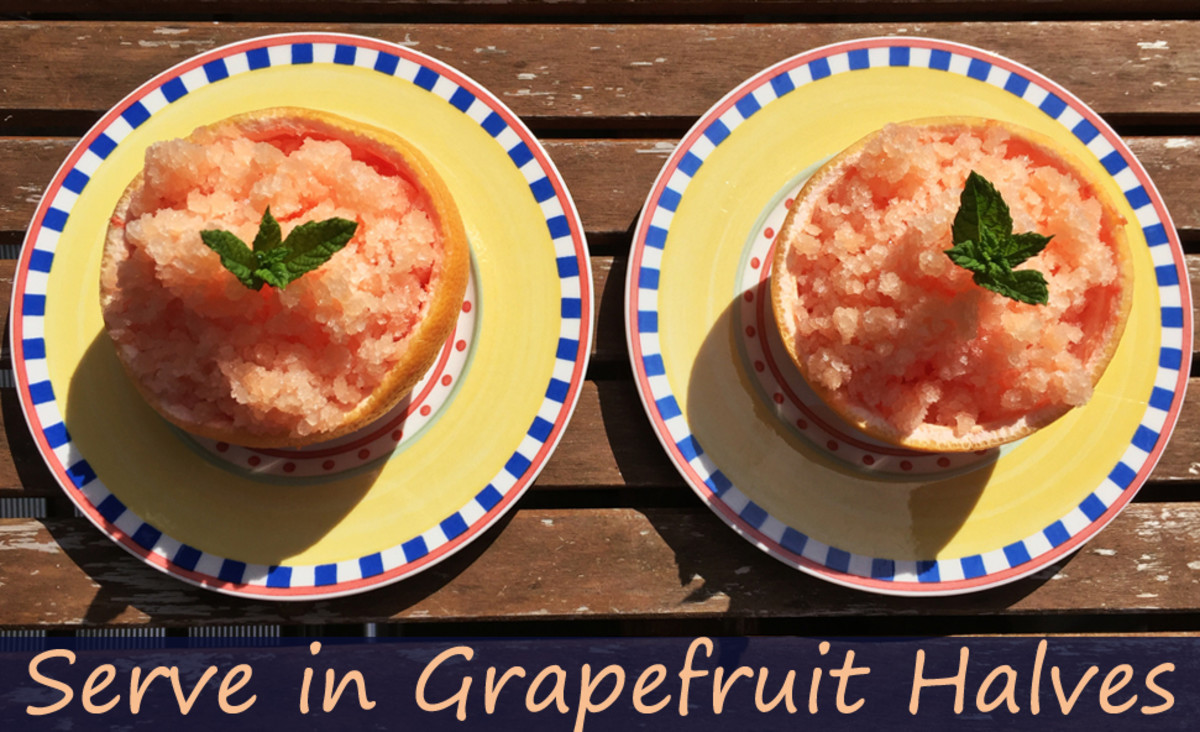 Pink Grapefruit Granita Served in Grapefruit