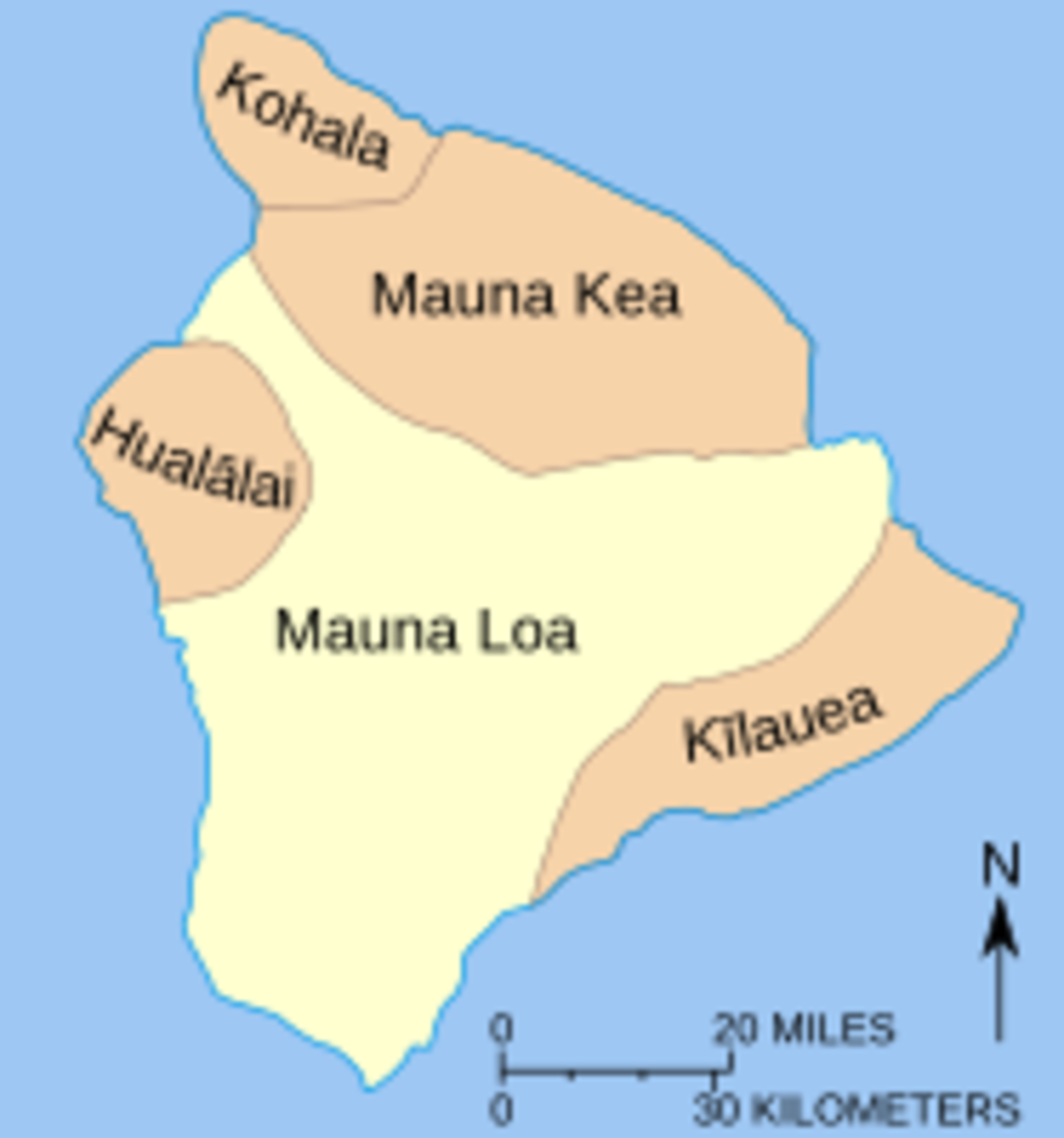 Map of 5 volcanoes comprising Big Island