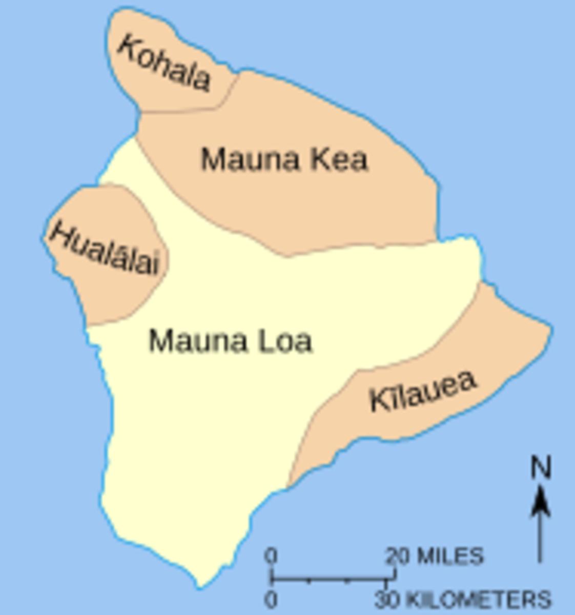 Map of 5 volcanoes comprising Big Island
