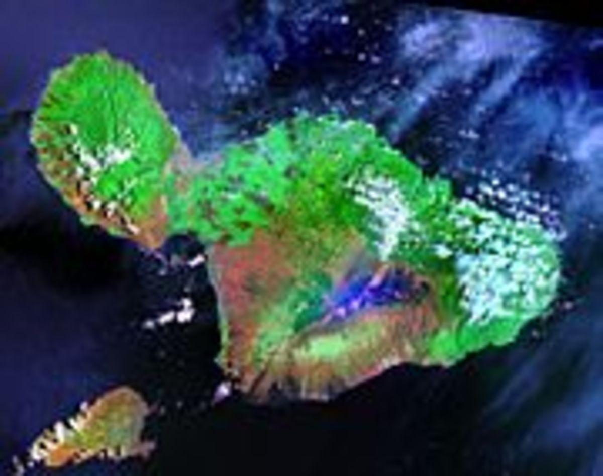 Maui has a land area of 727.3  square miles