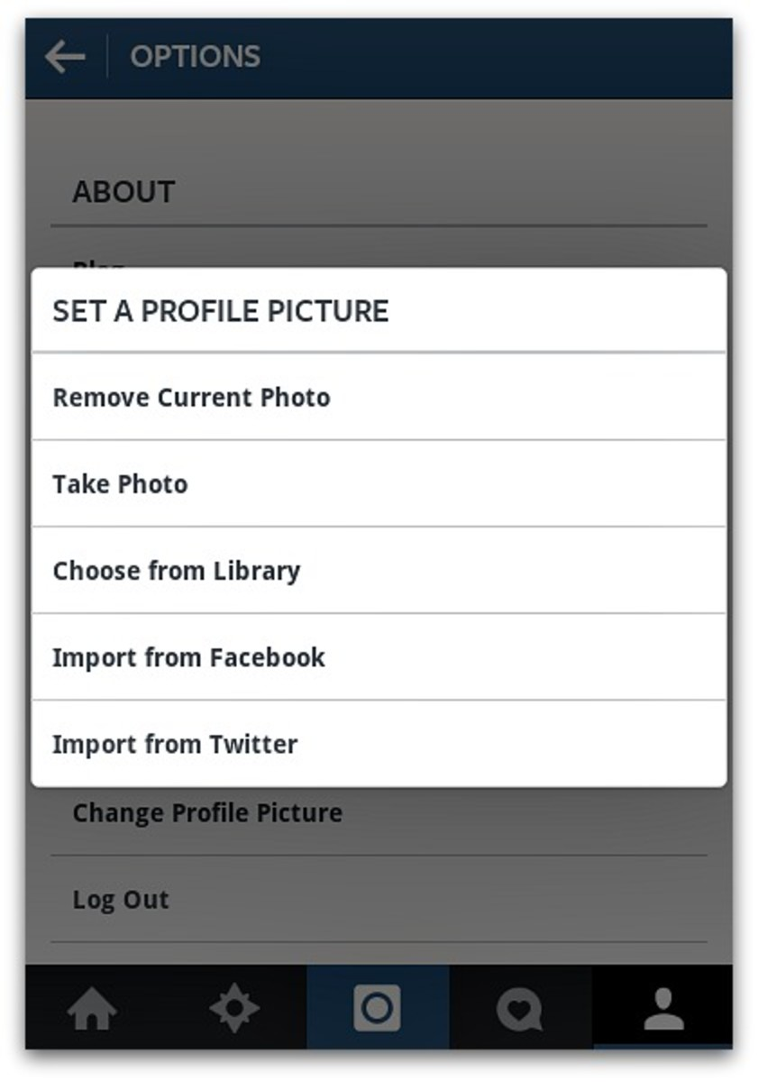 Upload new profile picture using various media galleries and social media accounts