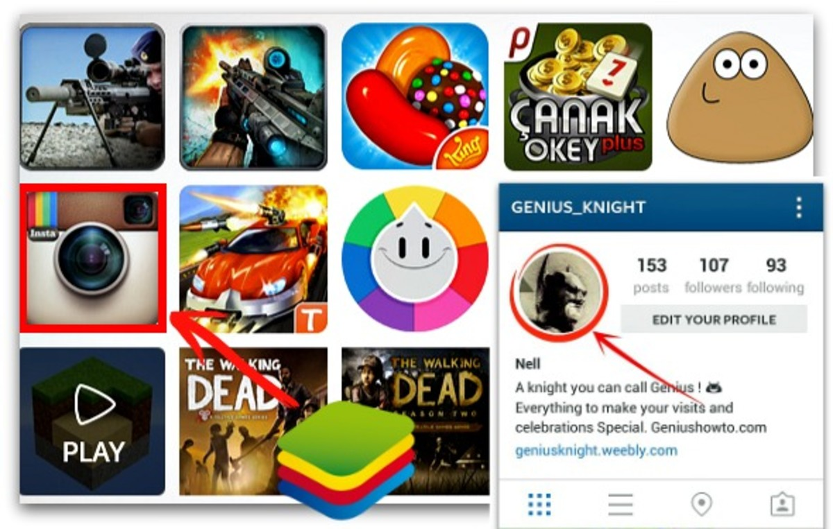 Changing your Instagram profile picture on PC using Bluestacks as android emulator for the app