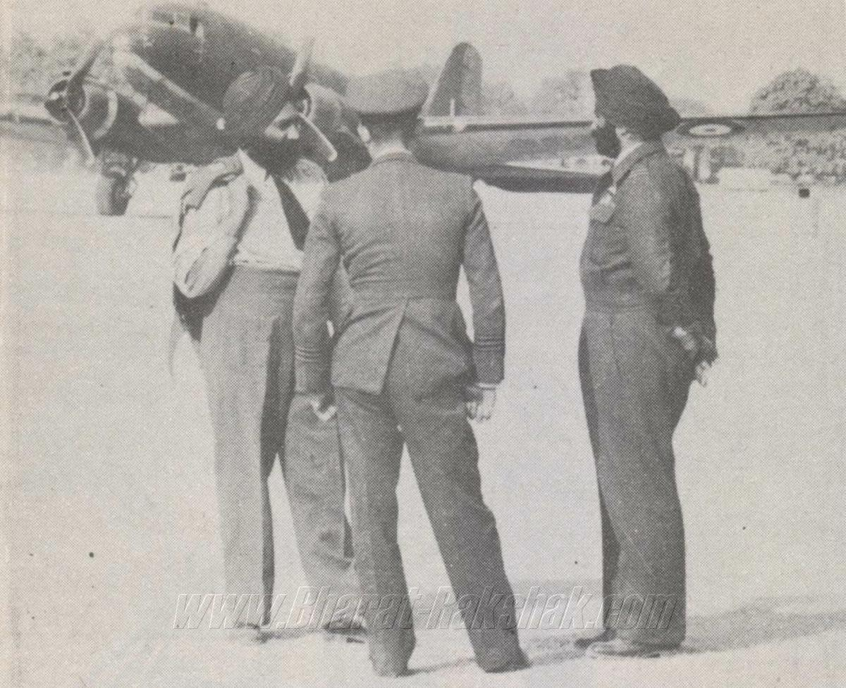 Air Commodore Mehar Singh with his Dakota