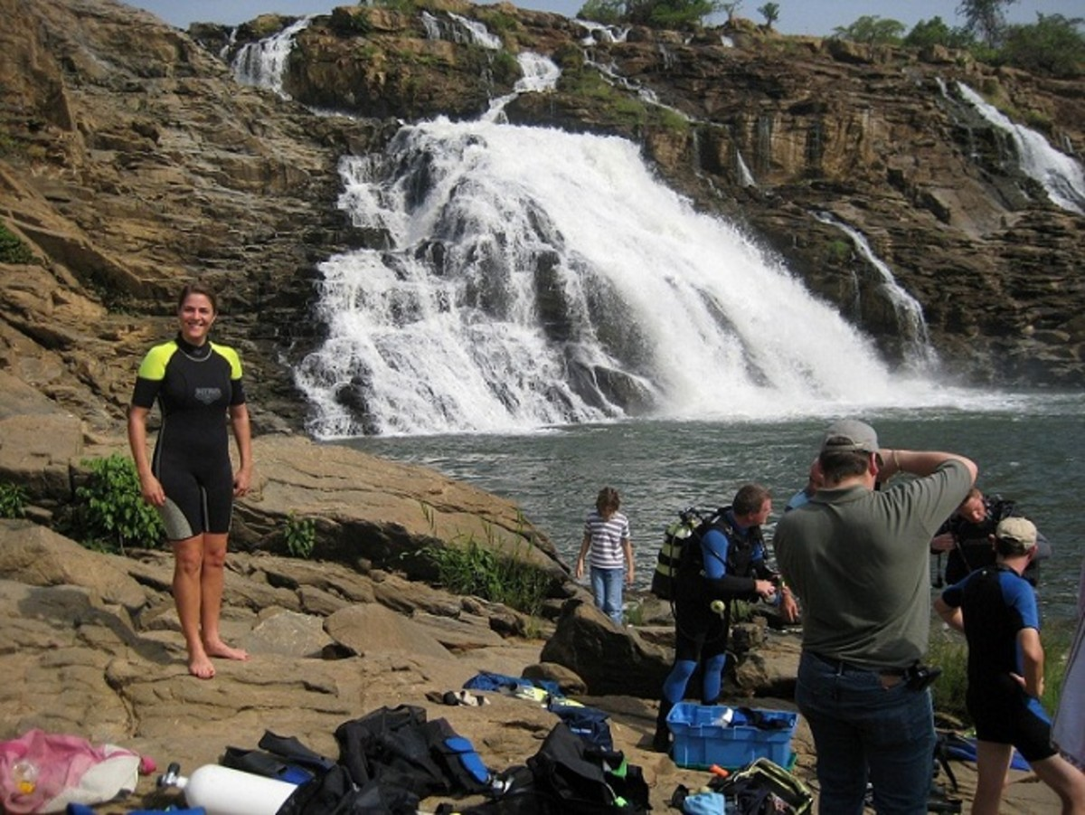 Foreigners enjoying at Gurara Waterfalls