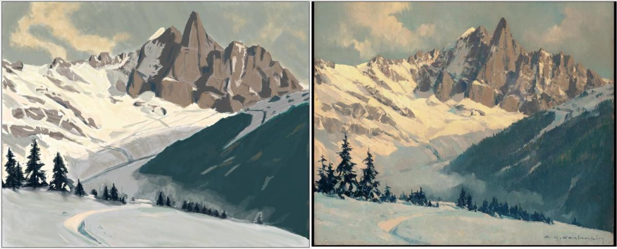 One of my master studies. Left is my study and the right is the original.