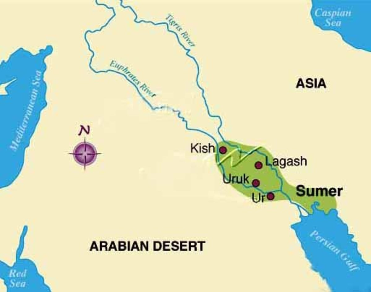 This shows the location of Sumeria, in the southern Mesopotamian valley.