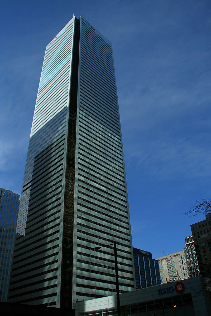 First Canadian Place, Toronto.  In Starship Invasions a downed flying saucer crashes into First Canadian Place.