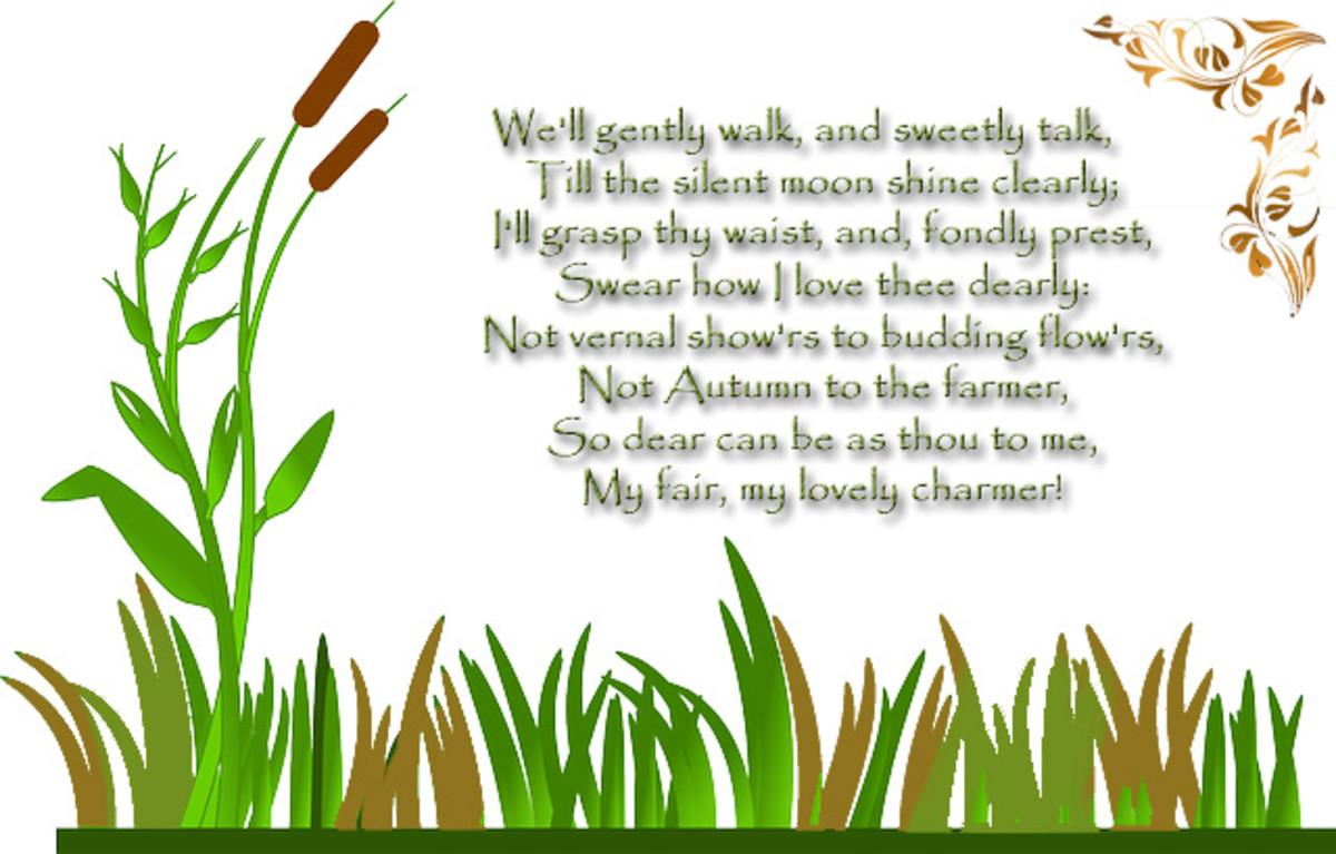 "Poem excerpt: ""Song Composed in August"" by Robert Burns (1783)"