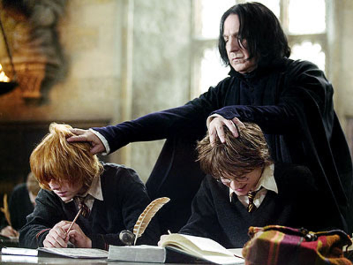 Rickman (back) is so good as Snape, you can't imagine anyone else in the role