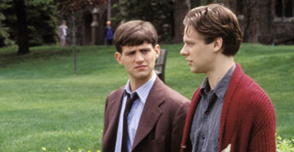 """Gene and Phineas from the film version of """"A Separate Peace"""" talking."""