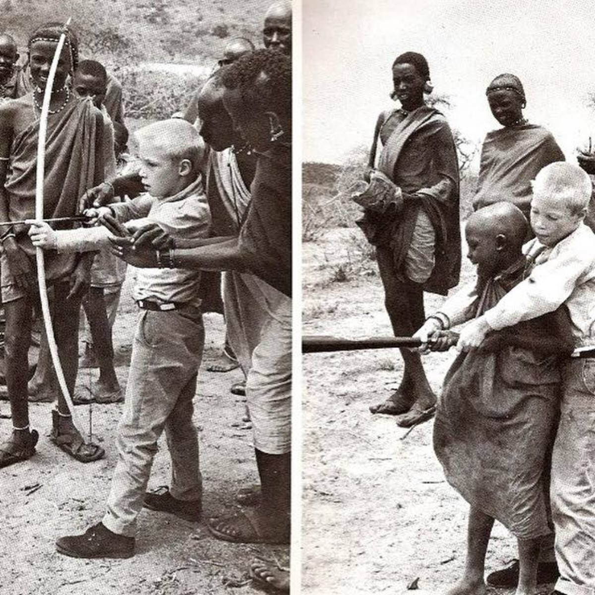 Kevin Gorman and his Masai friends exchanging expertise