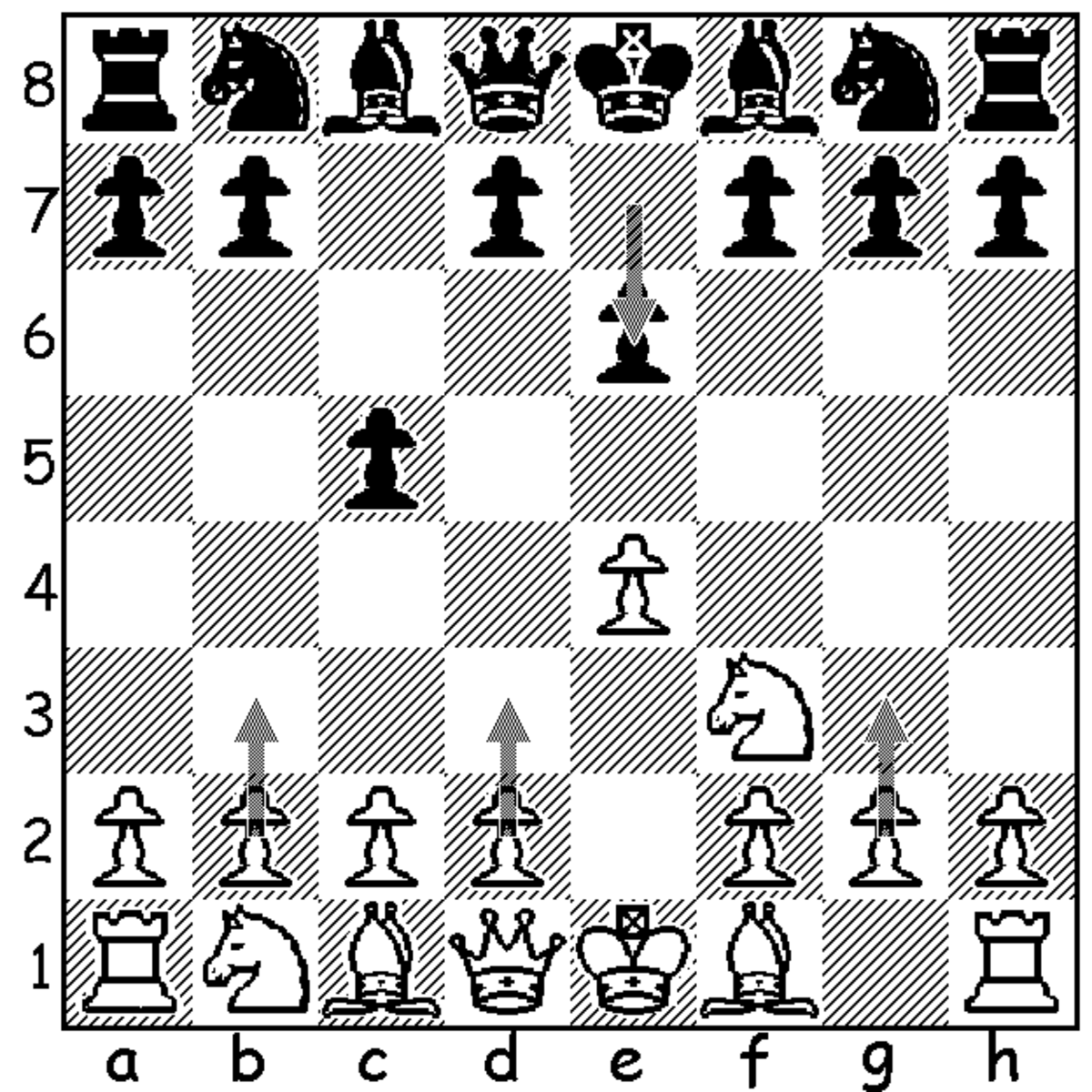 This image shows the three third move alternatives to the Open Sicilian (3.d4) that can be played against 2...e6 in the Sicilian Defense. They are 3.b3, 3.d3 and 3.g3.