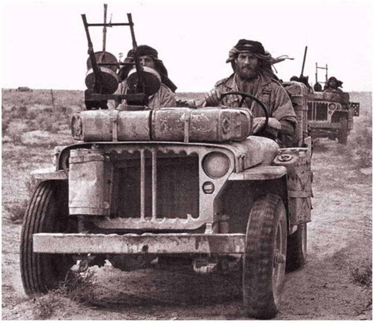 Men of 'L' Detachment SAS aboard their jeeps - maximum disruption at minimum cost was the aim; Hitler and many of his senior commanders held a pathological hatred of all commando forces