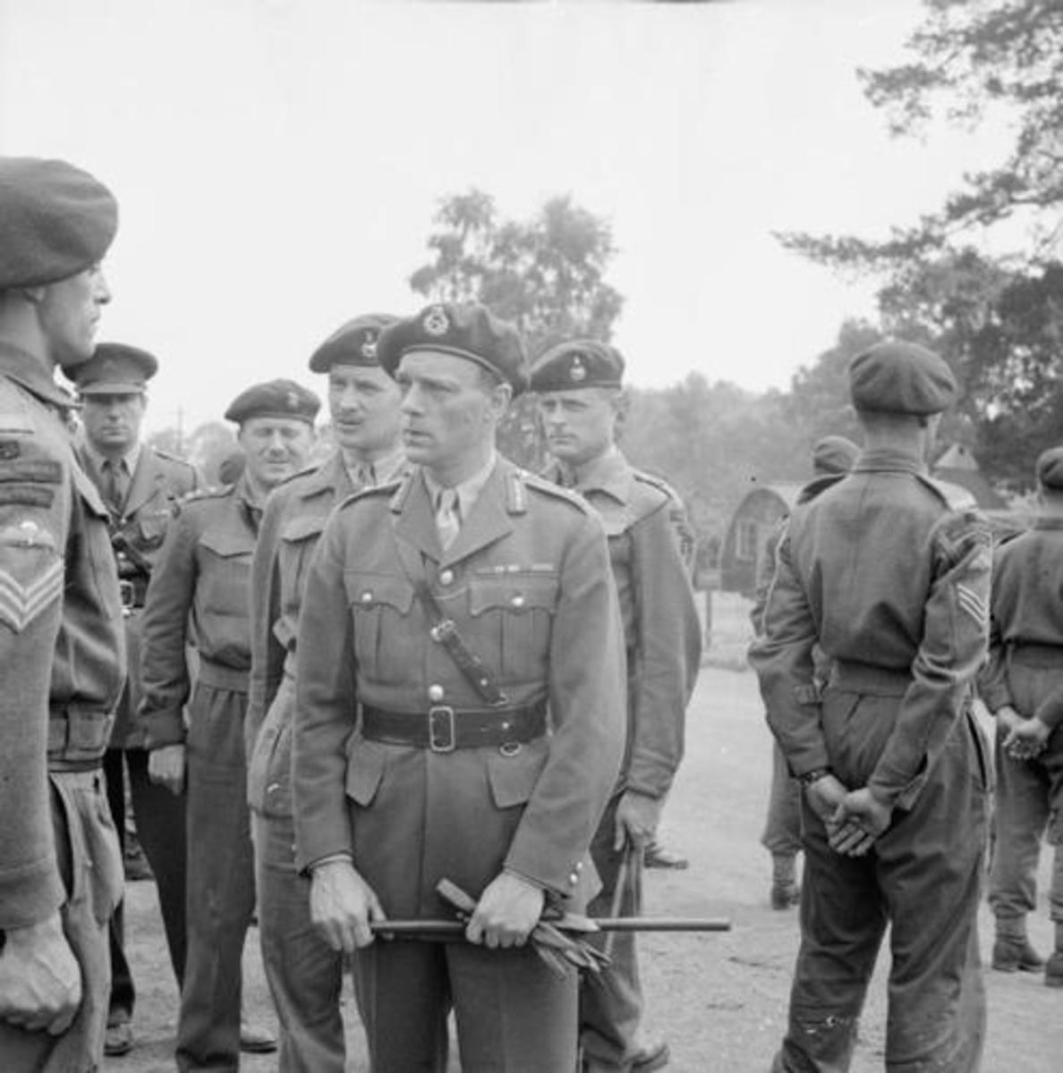 Brigadier Laycock inspects 'Layforce' on parade