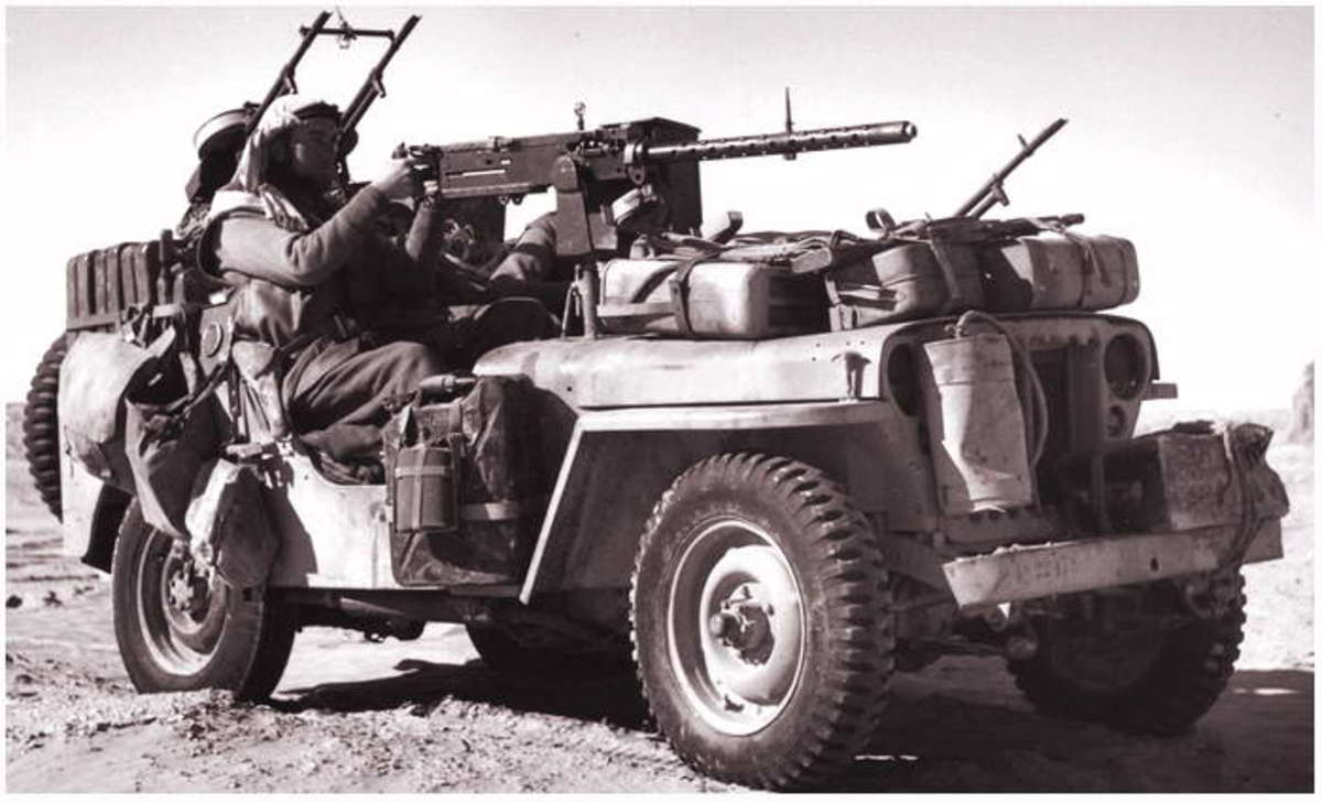 An SAS jeep laden, ready for action in the North African desert. They carried on their missions in Europe when North Africa was cleared of Axis forces
