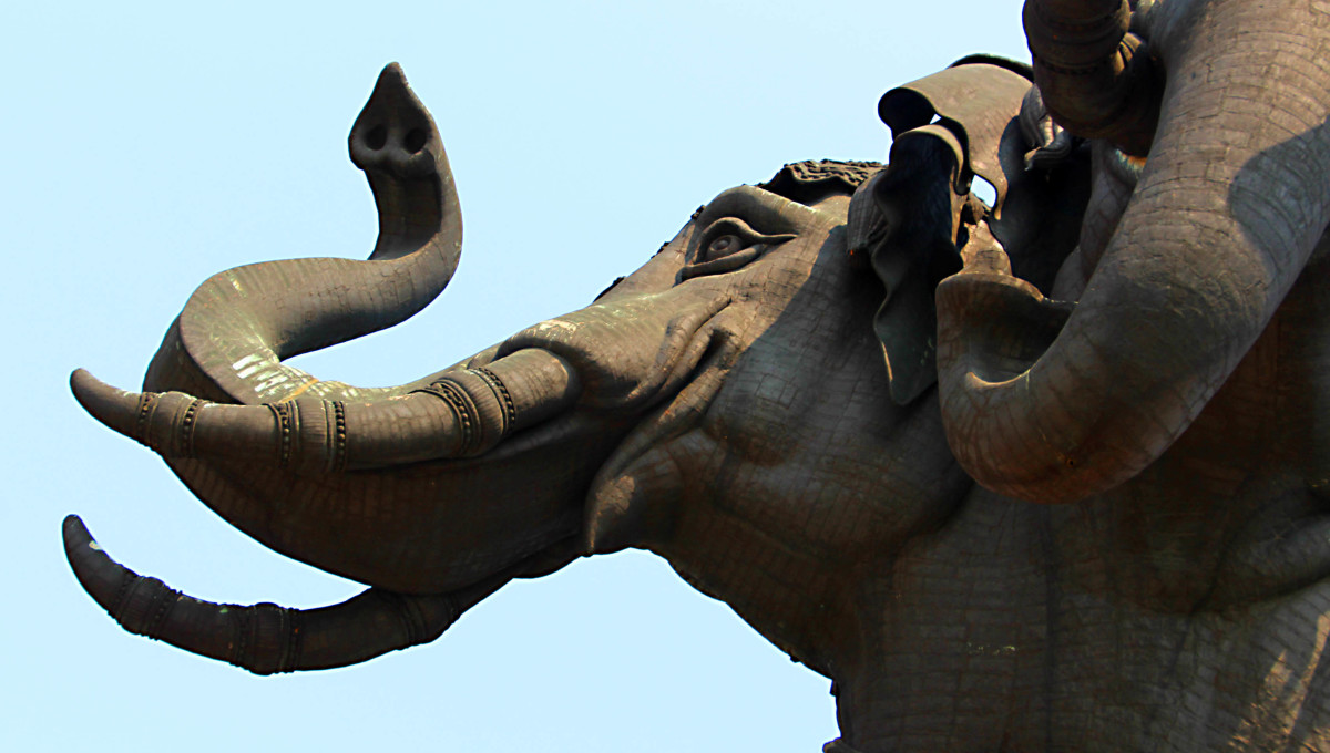The detail of one of the heads of the Erawan elephant is impressive
