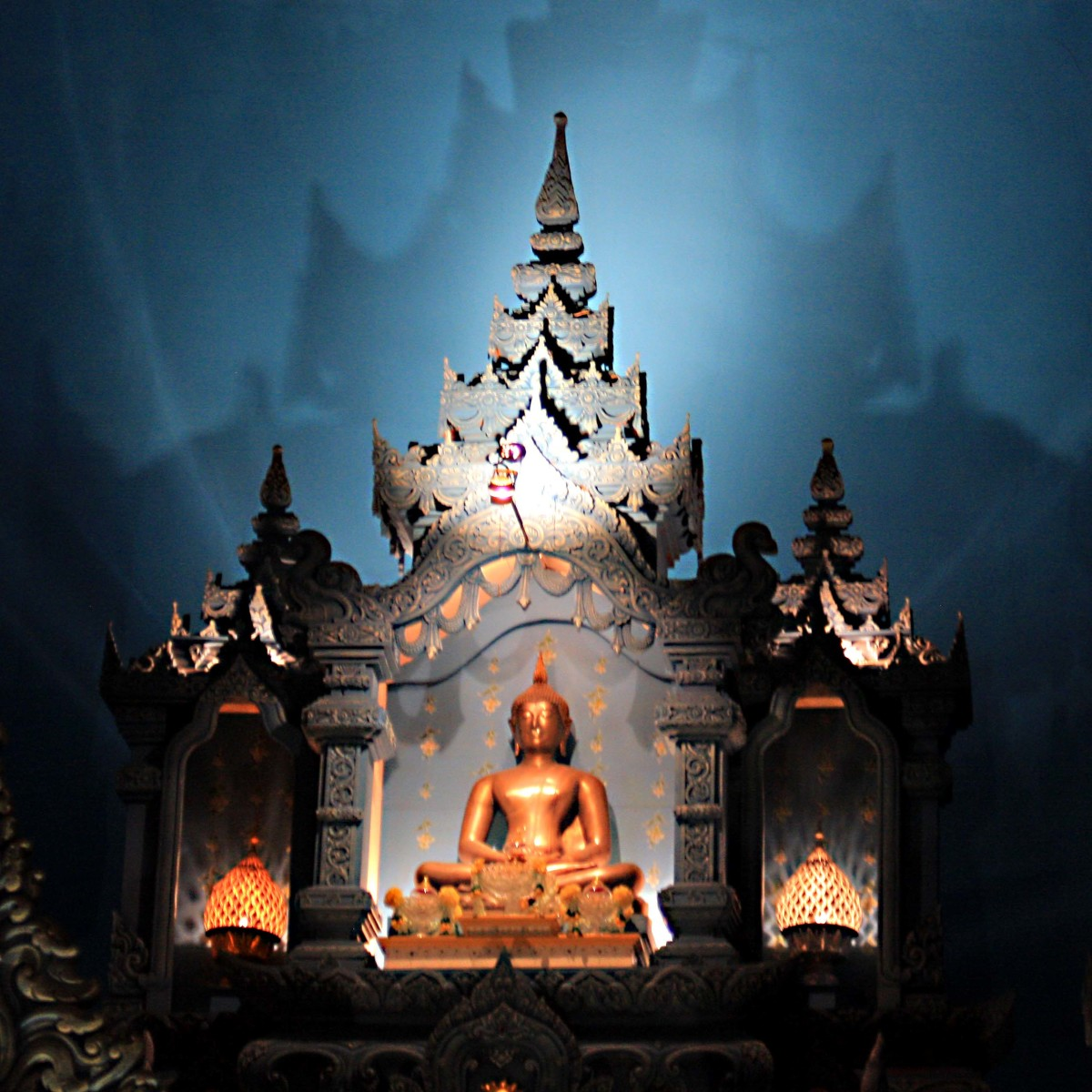 A Buddha statue - a serene finale to a tour of the interior of the Erawan Elephant