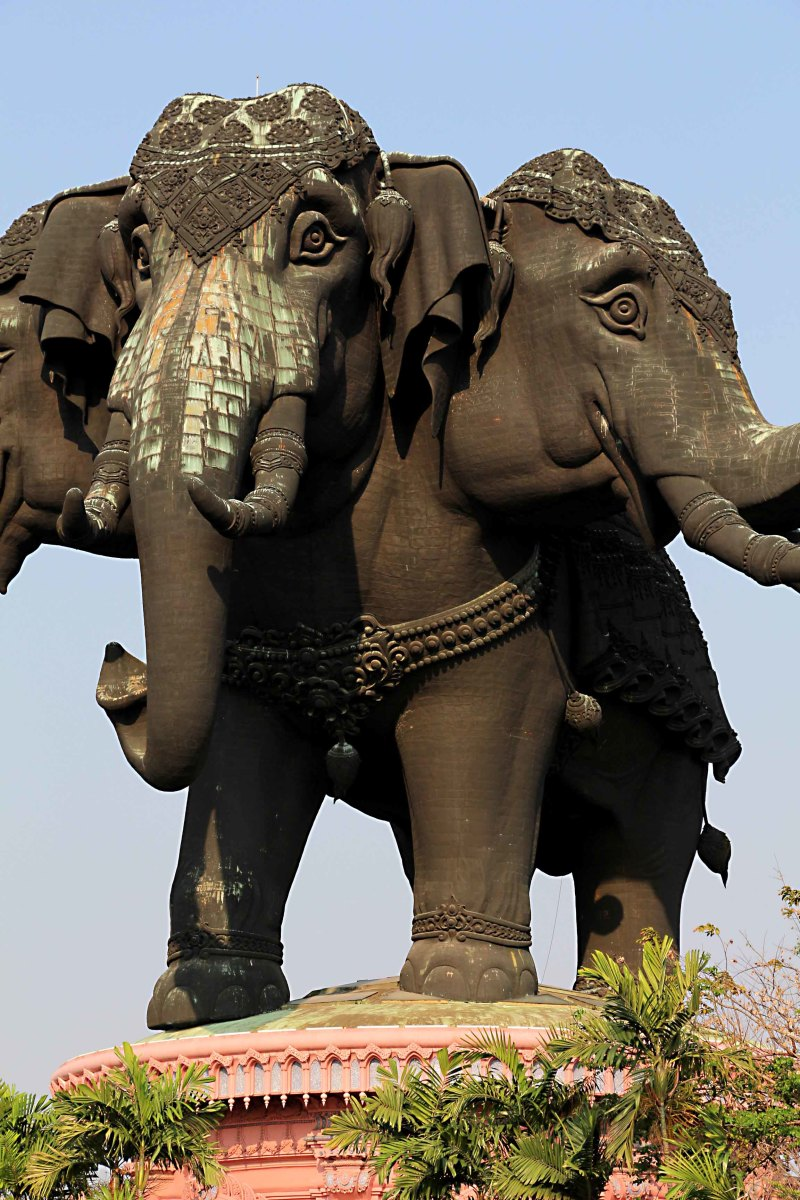 The Erawan elephant - not quite what it seems. The body is hollowed out into a cavernous room, and the hind legs enclose a spiral staircase and an elevator