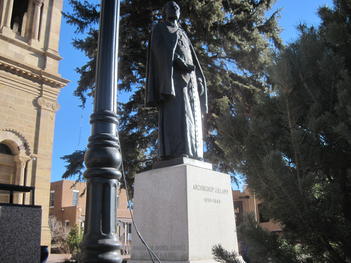 Statute of Jean-Baptiste Lamy outside the Cathedral Basilica of Saint Francis Of Assisi